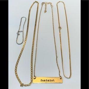 Necklace and bracelet lot bundle Feminist simple